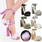 New Womens Ladies Fluffy Fur Pom Pom High Heel Party Sandals Strappy Celeb Size