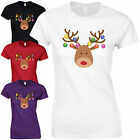 Christmas Baubles Rudolph Reindeer Face Ladies Fitted T-Shirt - Decorations Top