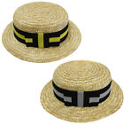 ADULTS STRAW BOATER HAT WITH BLACK AND YELLOW/SILVER BAND RIBBON FANCY DRESS