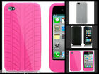 TYRE TREAD APPLE iPHONE 4 4S SILICONE GEL CASE COVER PINK BLACK WHITE UK SELLER