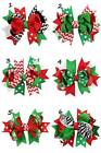 Red Green Black Holiday Christmas Hair Bows