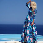 Vintage Women Boho Floral Print Long Sleeve Party Cocktail Evening Maxi Dress EW
