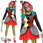 New Ladies Womens Halloween Freakshow Harlequin Circus Clown Fancy Dress Costume
