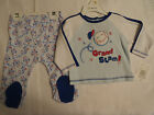 Absorba 0-3 3-6 or 6-9 Month Choice 2 Piece Baseball Footed Pant Top Outfit NWT