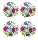 Ceramic Decals Floral Bouquet Pinks Blues  Iris Peony Mum Bluebell image