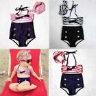 New Girls Fashion Stripes 2 Pieces Bikini Sailor Design Nylon Beach Swimwear