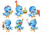 Ceramic Decals Bluebird Party Birds Present Candy Candle Cake image