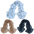 1X Chiffon Women Vintage Style Musical Note Printed Neck Scarf Shawl Wrap