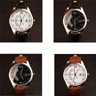 Fashion Mens Luxury Quartz PU Leather Stainless Steel Business Roman Watch