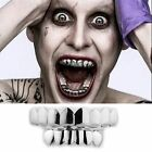 JOKER GRILLZ 8 Teeth Top Bottom Silver Fake Mouth Grills for Halloween Costume image