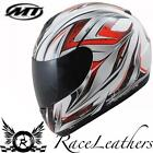 MT THUNDER ROADSTER 2 RED WHITE MOTORCYCLE MOTORBIKE BIKE FULL FACE HELMET