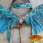 HILASON WESTERN LEATHER HORSE HEADSTALL BREAST COLLAR FEATHER FRINGES TURQUOISE