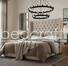 Wingback Chesterfield Canterbury Linen Bed Diamante Crystal Any Colour or Size