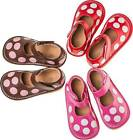 Leather Squeaky Shoes with Polka Dots  Shoe Sizes 1 2 3 4 5 6 7 (RUNS BIG)  Red