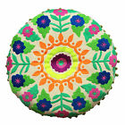 Bombay Duck - Tibet Embroidered Round Cushion - 40cms - Greens, Oranges or Pinks