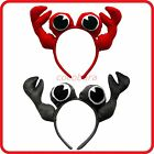 CRAB CRABS HEADBAND HAIRBAND WITH EYES + CLAWS-CUTE -GREY   RED-DRESS UP-COSTUME