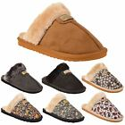 Womens Mule Slippers Slip On Open Back Fluffy Faux Fur Slider House Shoes Size