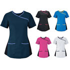 Womens Alexandra Short Sleeve Stretch Side Contrast Edges Scrub Top Size XS-XXL