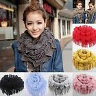 Women Lady Warm Infinity 2 Circle Cable Knit Cowl Neck Tassel Scarf Shawl Winter