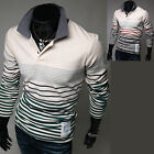 New Fashion Dandy Mens Slim Fit Long Sleeve Polo Collar T Shirts Top W043 S/M
