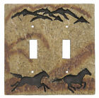FREE SHIPPING NEW BEARFOOTS BIG SKY CARVERS HORSE STONECAST DOUBLE SWITCHPLATE