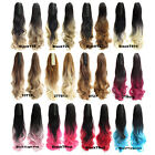 "22"" Dip Dye Ombre Pink Ponytail Claw Pony tail Clip In Curly Hair Extension 170g"