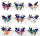 Lots 5/10pcs Cute Mood Change Butterfly Glossy Silver Finger Rings Adjustable