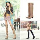 New Women Round Toe Buckle Over The Knee Boots Chunky Heels Skintight Thin Shoes