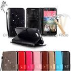 For Wiko Rainbow 3D Crystal PU Leather Flowers Case Cover Flip Tempered Film New