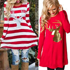 Christmas Women Ladies Long Sleeve Loose Casual Dress Swing Skater New Plus Size