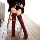 Grace Womens Knee High Boots Faux Suede High Heel Platform Round Toe Party Shoes