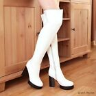 Women's Round Toe Block Heels Stretch Over The Knee Boots PU Skintight Zip Shoes