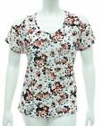 WOMENS COLD / CUT SHOULDER TOP STRETCH WHITE & FLORAL PRINT LADIES