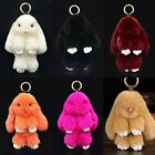 Cute Bunny Rex Rabbit Fur Phone Car Pendant Handbag Girl Key Chain Ring Pom 14cm