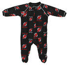 NHL Infants New Jersey Devils Full Zip Raglan Logo Print Coverall, Black