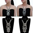 Vintage Antique Silver Chain Ethnic Statement Necklace Earrings Set Jewelry New