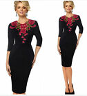 Women's Elegant embroidery Floral neck office work Cocktail party evening dress
