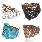 1Pc Vintage Women Punk Style Hollow Out Flower Wide Bangle Cuff Leather Bracelet
