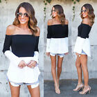 UK New Womens Long Sleeve Off Shoulder Neck Shirts Casual Slim Tops Blouse 6-14