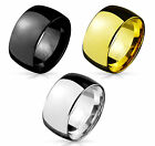 Wide 10mm Dome Stainless Steel Band Ring in Silver, Gold or Black