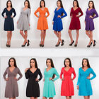 Women's Elegant sexy long-sleeves office work wear Cocktail party skater dress