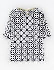 Boden Women's Brand New Structured Viscose Top Ivory & Navy Tile Print