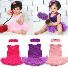 Girls Party Flower Cotton Dress Pageant Rose Sleeveless
