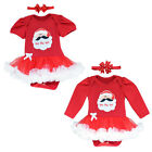 Newnborn Baby Girl Jumpsuit Santa Tutu Dress Christmas Long Sleeve Outfits 0-12M