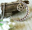 Large Big Silver Crescent Moon Pentagram Pentacle Pendant Necklace Wiccan Pagan