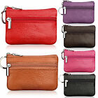 Womens Men Zipper Card Coin Holder Small Pouch Leather Purse Keychain Wallet New