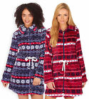 Ladies Fairisle Fleece Loungewear Jacket New Womens Warm House Bed Coat UK 8-22