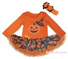 Halloween Orange L/S Bodysuit Girl Pumpkin Witch Hat Spider Web Baby Dress 0-18M