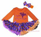 Happy Halloween Ghost Orange Cotton L/S Bodysuit Girls Pumpkin Baby Dress NB-18M