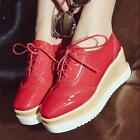 Stylish Girls College Wedge Heel Platform Creeper Women's Lace Up Wing Tip Shoes